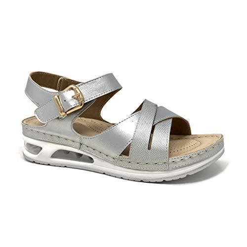 Angkorly - Chaussure Mode Sandale Semelle Basket Style orthopédique Senior Femme Lanières croisées Finition surpiqûres Coutures Talon compensé 4 CM - Argenté 2 - D-101 T 38