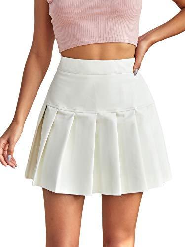 Milumia Las mujeres de cuero de la PU de cintura alta plisada falda cremallera una línea corta skater falda, Blanco, L