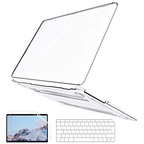 BELK Compatible with MacBook Air 13 inch Case 2020 2019 2018 Release A2337 M1 A2179 A1932 with Retina Display & Touch ID, Slim Crystal Clear Plastic Hard Shell & Keyboard Cover & Screen Protector