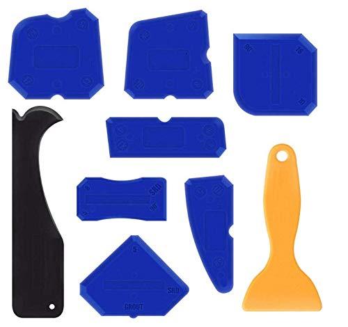 Kit di guarnizione per utensili, raschietto, Anlising 9 pezzi di rimozione silicone sigillante Finishing Tools Caulk Caps Sealant raschietto per fughe Set per bagno cucina spazio e telaio