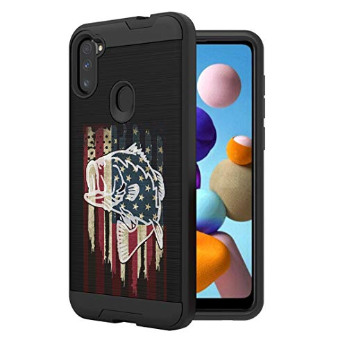 Moriko Case Compatible with Galaxy A11 [Cute Brushed Texture Shockproof Hybrid Slim Men Women Design Protective Black Case Phone Cover] for Samsung Galaxy A11 SM-A115A (Fishing USA Bass)