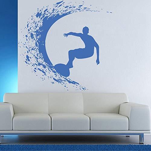 mlpnko Etiqueta de Vinilo de Pared Surfista Tabla de Surf Wave Rider océano Agua de mar Deportes Extremos Ola Mural Decal Art 64x63cm
