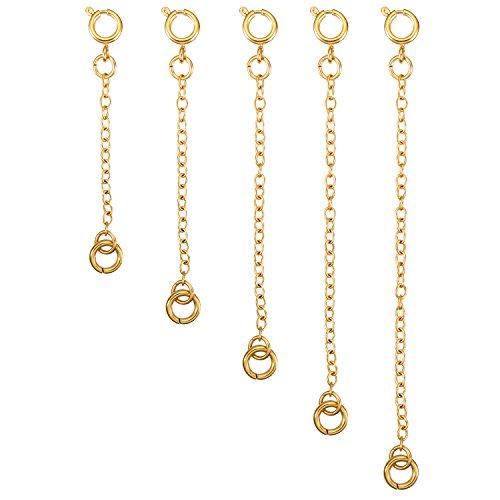 5 Stück Halskette Extender Armband Verlängerung Kette Set für Halskette Armband DIY Schmuckherstellung (Golden)