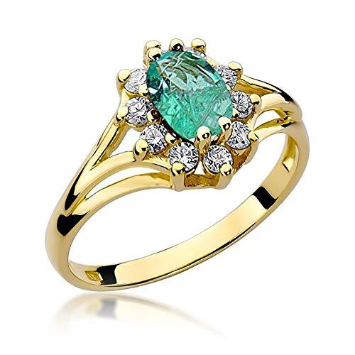 Anello da donna in oro giallo 585, 14 carati, con vero smeraldo e diamanti