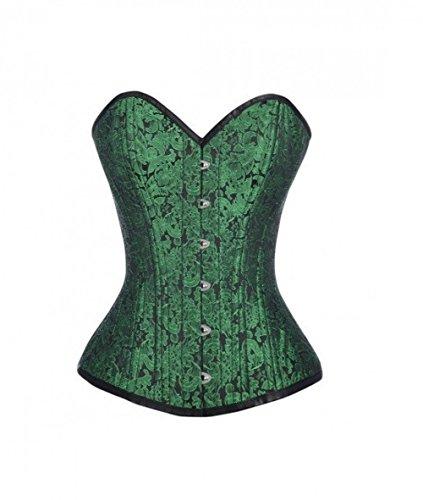 Disfraz de burlesque de brocado verde negro para fiesta de Halloween Overbust Cors vasco Top