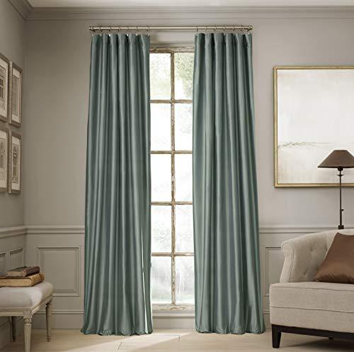"Valeron Estate 100% Real Silk Rod Pocket with Back Tab Window Panel, 120"", Mineral Blue"