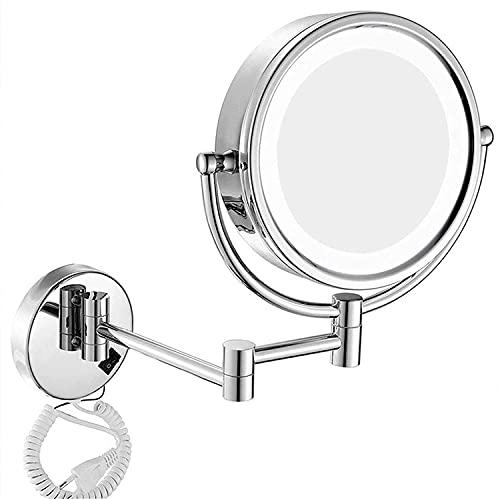 FGHHJ LED Montaje de Pared Maquillaje Maquillaje Espejo de baño 10x 8 Pulgadas Doble Cara Espejo de Lupa Espejo Redondo Plegable Plegable telescópico Espejo de tocador afeitando Espejos