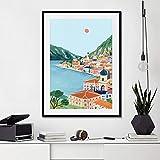 Danjiao Cartel De Viaje De Italia E Impresiones Cinque Terre Lago De Garda Con Vista A La Montaña Lienzo Pintura Cuadros De Pared Modernos Sala De Estar Decoración Del Hogar Sala De Estar Dec 60x90cm