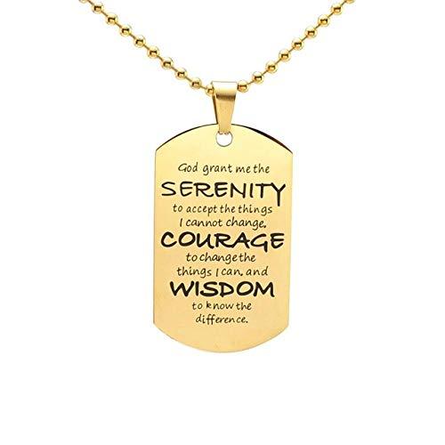 Minekkyes Acero Inoxidable Serenidad Oración Perro Etiqueta Colgante Collar 60Cm Cadena De Oro
