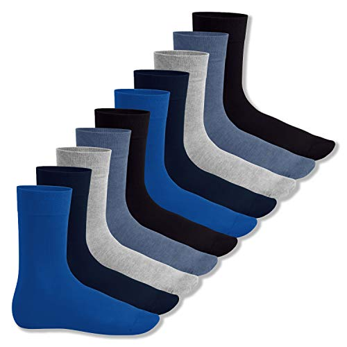 Footstar Herren & Damen Baumwollsocken (10 Paar), Klassische Socken aus Baumwolle - Everyday! - Jeanstöne 35-38