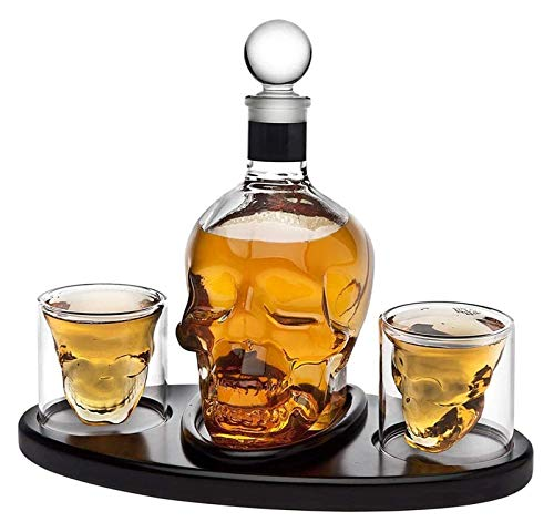 NIANXINN Conjunto de cráneo del decantador de Whisky con 2 Gafas de Enchufe de cócteles, Accesorios de Barras para Licor, escocés, Bourbon- 850 ml Decantador de Whisky
