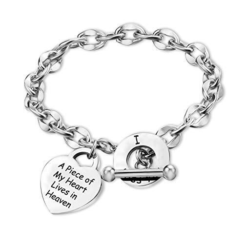 Memorial Jewelry - Pulsera de condolencia, diseño de corazón con texto en inglés 'A Piece of My Heart Lives in Heaven'