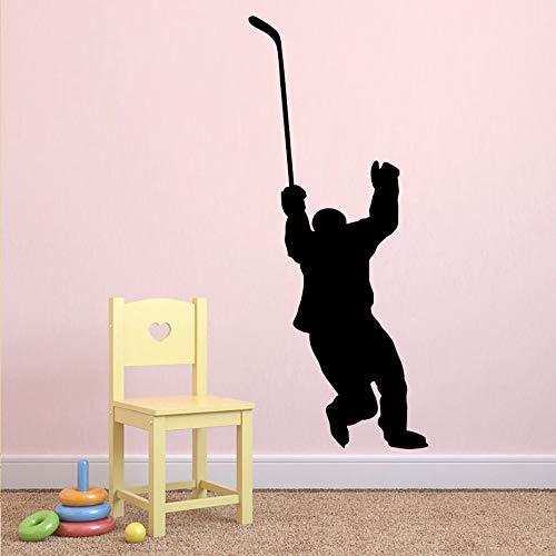 Jugador de hockey tatuajes de pared Hockey deportes pegatinas de pared para adolescentes habitación de los niños dormitorio dormitorio universitario de vinilo arte de la pared deco