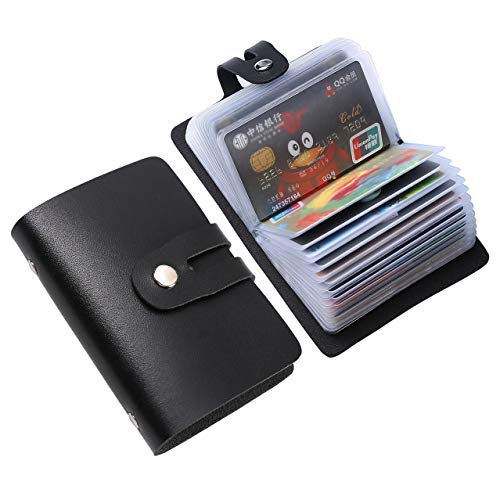 RFID Business Card Organizer,Credit Card Holder Case Keeper Organizer Business,Single Side Soft PU Leather with RFID Protection 26 Card Slots Card Holder Case for Men & Women Slim Minimalist (Black)