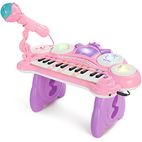 Best Choice Products 24-Key Kids Toddler Learning Musical Electronic Keyboard w/ Lights, Drums, Microphone, MP3 - Pink