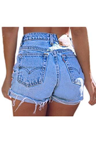 Laisla fashion Jeans Donna A Vita Alta Forma di con Risvolto Classiche A Frange Ragazzi Jeans Donna Elegante Denim Pantaloncini Estivi Jeans Jeans Corti (Color : Blu, Size : S)