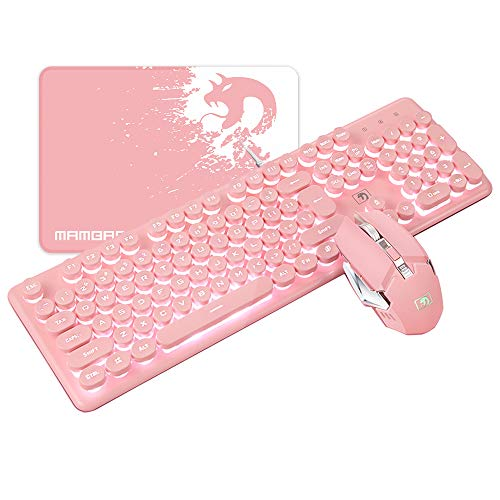 FELiCON Gaming Keyboard Mouse Combo Wired White Led Backlit 104 Keys Ergonomic Gamer Pink Keyboard + 2400DPI Adjust 4 Buttons USB Optical Game Mouse Sets Mousepad for PC Laptop