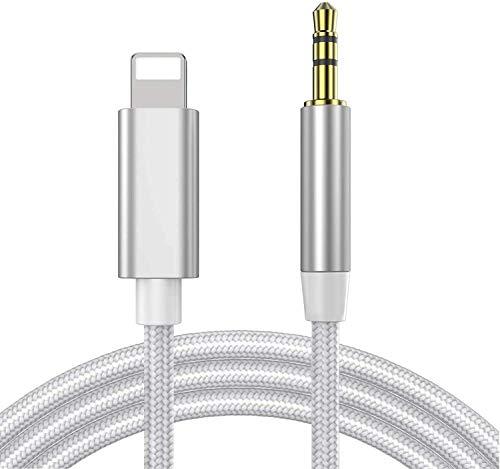 Cable Auxiliar para iPhone adaptador a jack 3,5 Cable auxiliar coche para iPhone 8/7P/XS/XR Adaptador de Cable de Audio estéreo Macho de 3,5mm para hogar/automóvil estéreo,Altavoces,Auriculares -Plata