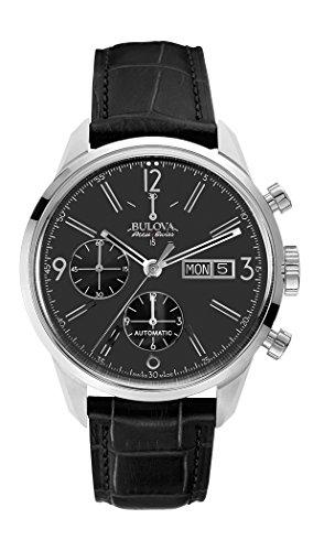 Bulova Accu Swiss Murren-Orologio automatico da uomo con quadrante 63C115 Display cronografo e cinturino in pelle, colore: nero