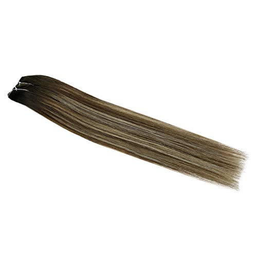 Fshine Halo Extensions Real Brazilian Human Hair 18 Inch Balayage Hidden Crown Extensions 2/3/27 Honey Blonde Fish Wire Extensions 80 Gram