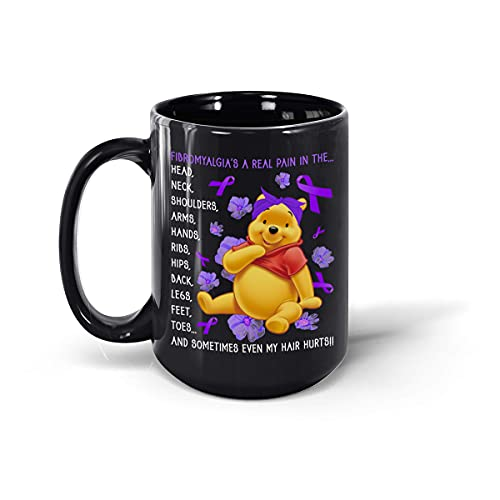Fibromyalgia's A Real Pain in The Head Neck Fibro Awareness Poo-h Bear Taza de café de cerámica (negro, 15 onzas)