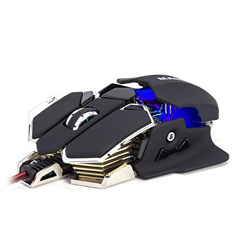 Gaming Mouse, Masione Mouse, Gaming mice, Computer Mice with Breathing LED Light, 4 Adjustable DPI Levels, 1200/1600/2400/4800 DPI, 10 Buttons for PC, MacBook, Laptop, Computer, Black, X11
