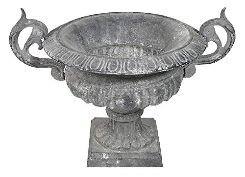zeitzone Französische Vase Gusseisen Shabby Grau Henkel Pflanztopf Amphore Antik-Stil