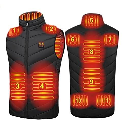 joyvio Chaleco calefactable, Chaleco calefactable Mujer Hombre, Chaleco calefactado con Carga USB, Chaqueta eléctrica, Chaleco Polar con 3 temperaturas, Chaleco Lavable (Color : Black, Size : 5XL)