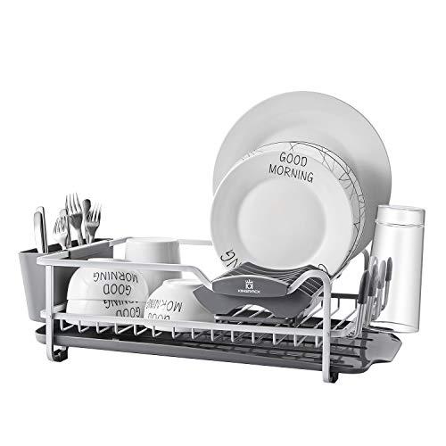 Kingrack Escurridor de platos de aluminio escurreplatos con fregadero extensible, en un secador de fregadero y desagüe amplio, portapilas extraíble, portavasos antiarañazos WKUK112040