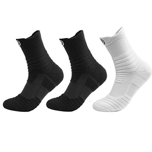 Socken Profi Marathon Sport Männer und Frauen Deodorant Klettern Basketball Boots-Socken Laufen Handtuch Bottom Kurze Socken im Gefäß, (Color : BBW)