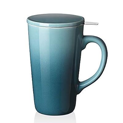 DOWAN Tea Cups with Infuser and Lid, 17 Ounces Large Tea infuser Mug, Tea Strainer Cup with Tea Bag Holder for Loose Tea, Ceramic Tea Steeping Mug, Green Color Changing