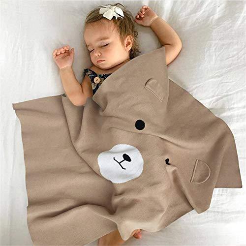 AMRT Sofadecke Baby Klimaanlage Decke Kinder Strickdecken Fröhlicher Bär Wolle Quilt Kissen geeignet für Sofa, Loungesessel, Erkerfenster, Kissen (Farbe: Braun, Größe: 75 x 105 cm)