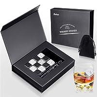 Baban Whisky Stones 12 PCS Set,Cubetti di Ghiaccio per Il Whiskey Riutilizzabili,6 Nere + 6 Grigie Whisky Stones, Confezione Bellissima