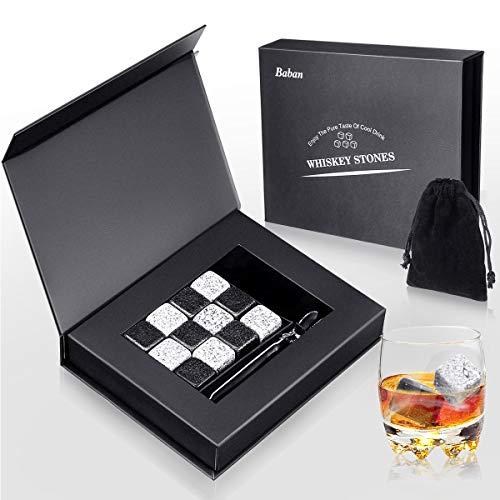Baban Whisky Steine Geschenkset 12 Eiswürfel Wiederverwendbar, mit Eissteinklammern, Samtaufbewahrungstasche, Besondere Geschenke Whiskey Kühlsteine