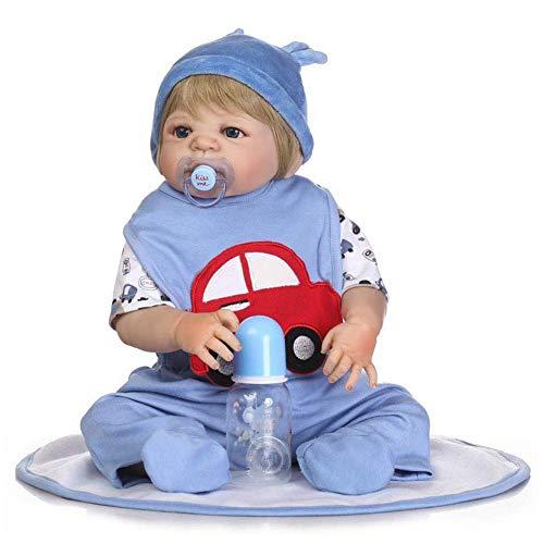 WYZQ Muñecas Reborn, simulación de Silicona Suave Completa, muñeca para bebés, Juego de Casitas, Rompecabezas, Juguete de educación temprana, Puede Entrar al bebé, muñecas de 57 cm