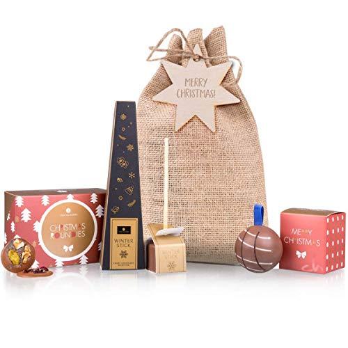 Set regalo natalizio in sacchetto di juta - Natale   Bal di Natale al cioccolato   6 cioccolatini rotondi con condimenti   ChocoStick per fare cioccolata calda   Regalo   Presente   Bambini   adulti