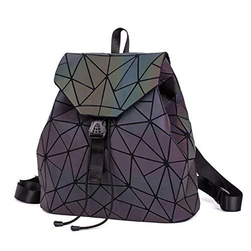 QXbecky Sac à dos pliant femme géométrique rhombique sac à bandoulière illusion illuminé dégradé lumineux couleur sac à dos étudiants masculins et féminins sac grand triangle 32x15x42cm