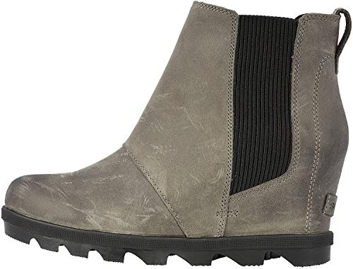 Sorel - Women's Joan of Arctic Wedge II Chelsea, Leather or Suede Ankle Boot, Quarry, 5 M US