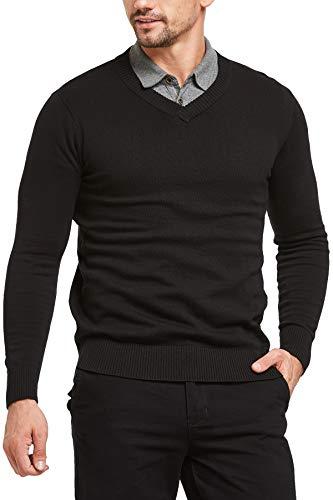 Tansozer Herren Basic Pullover Knit V Ausschnitt Slim Fit Business(schwarz XXL)
