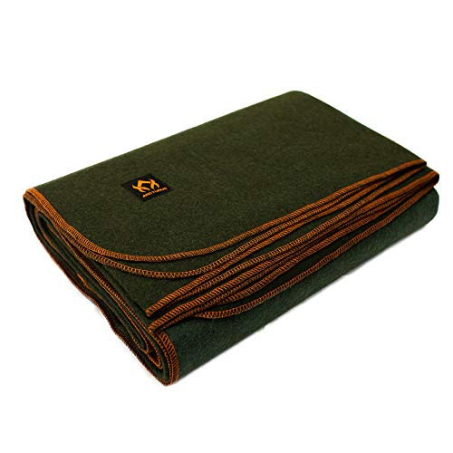 Arcturus Military Wool Blanket - 4.5 lbs, Warm, Thick, Washable, Large 64' x 88' - Great for Camping, Outdoors, Survival & Emergency Kits (Olive Green)