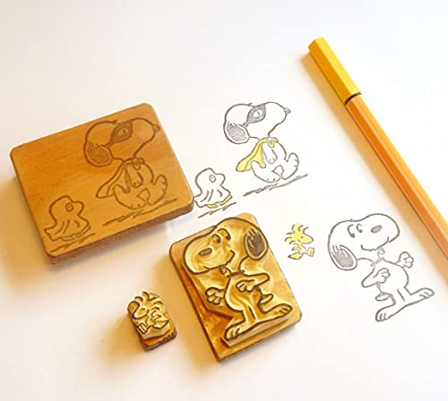 Snoopy and Woodstock - Inspired by Peanuts Charlie Brown - Hand carved rubber stamp set