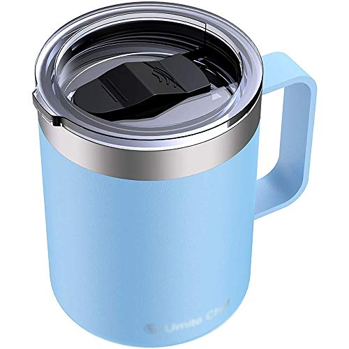 GWZZ Coffee Cup Female Cute Portable Stainless Steel Warm Water Cup With Lid Office Cup,Blue
