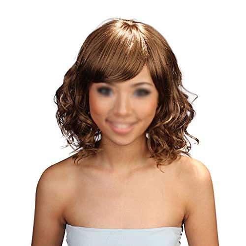 peluca Moda ondulada peluca de pelo rizado para las mujeres Bob Pelucas de cabeza corta Cabello rizado de 14 pulgadas Peluca marrn mullida natural para uso diario de la fiesta fiesta de disfraces