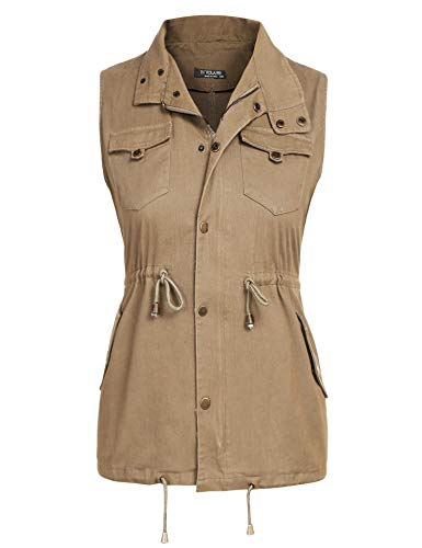 IN'VOLAND Womens Plus Size Vest Military Vest Lightweight Sleeveless Anorak Vest Casual Zipper Snap Button Closure Drawstring