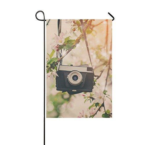 VinMea Custom Retro Camera Hangs on an Apple Tree Yard Garden Flag 12 x 18 Inches