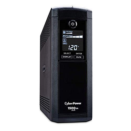 CyberPower CP1500AVRLCD Intelligent LCD UPS System, 1500VA 900W, 12 Outlets, AVR, Mini-Tower, Black