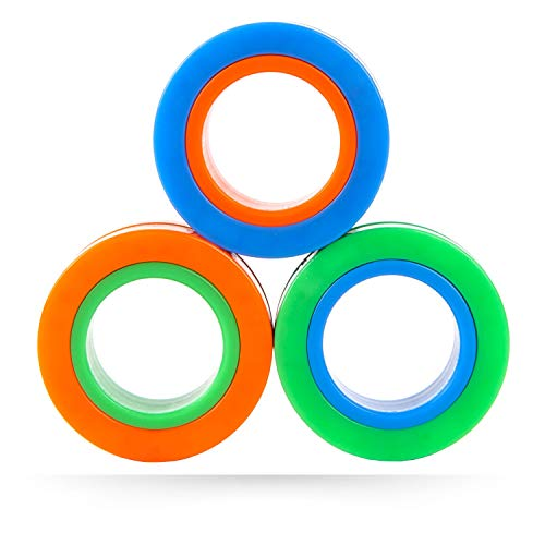 Magnetic Rings Fidget Toy, Pack of 3, Perfect Magnetic Fidget Rings, Ideal ADHD Fidget Toys, Great Fidget Toys for Anxiety Teens & Fidgets for Teens, Cool Toy Rings for Adults used as Focus Fidget