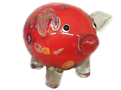 Cerdo de cristal XXXL de la suerte – Tamaño: aprox. 20 cm x 15 cm – Peso: aprox. 2 kg – amuleto de la suerte para Nochevieja cumpleaños boda – WWW.VIENNAFASHION.at – de Viena – Vienna (648 rojo)