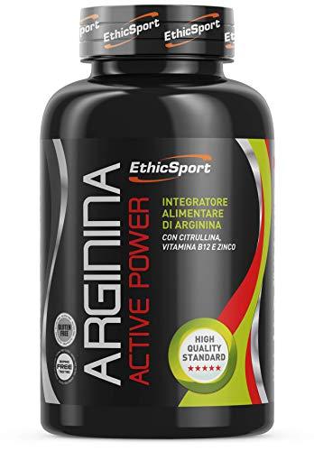 EthicSport - Arginina - Barattolo da 90 cpr x 1500 mg - Coadiuva l'attività di atleti impegnati in lavori ad elevata intensità, dove è necessaria forza ed esplosività muscolare