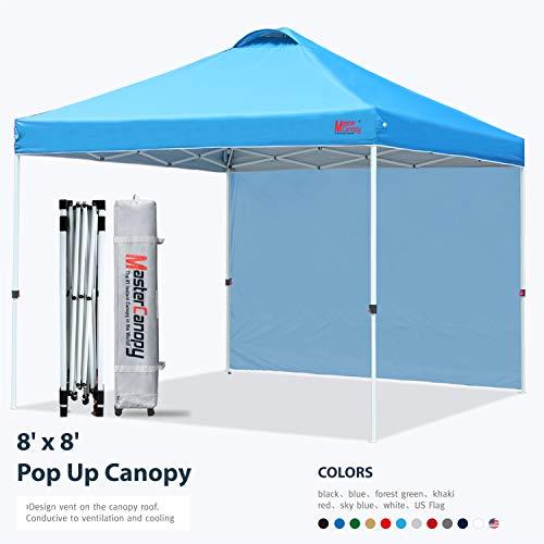 MasterCanopy 2.5M Pop Up Sofortschutz Strandüberdachung Bessere Luftzirkulationsüberdachung mit Rucksack-Tragetasche auf Rädern,Himmelblau